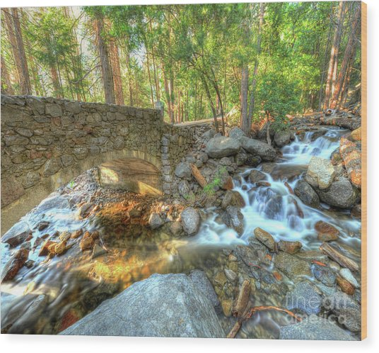 Bridalveil Creek At Yosemite By Michael Tidwell Wood Print
