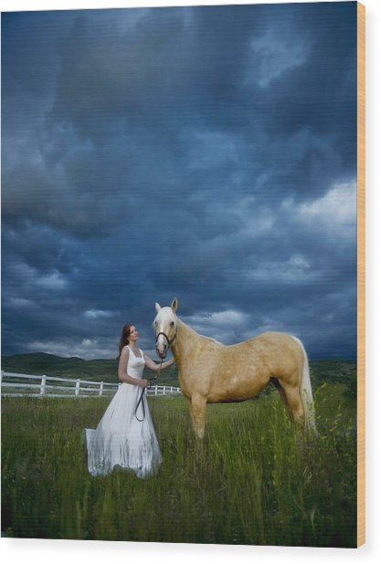 Bride And Horse With Storm Wood Print by Nick Sokoloff