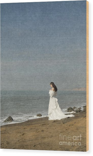 Bride By The Sea Wood Print