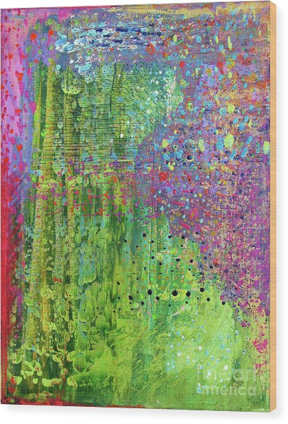 Abstract Green And Pink Wood Print
