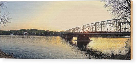 Bridge And New Hope At Sunset Wood Print