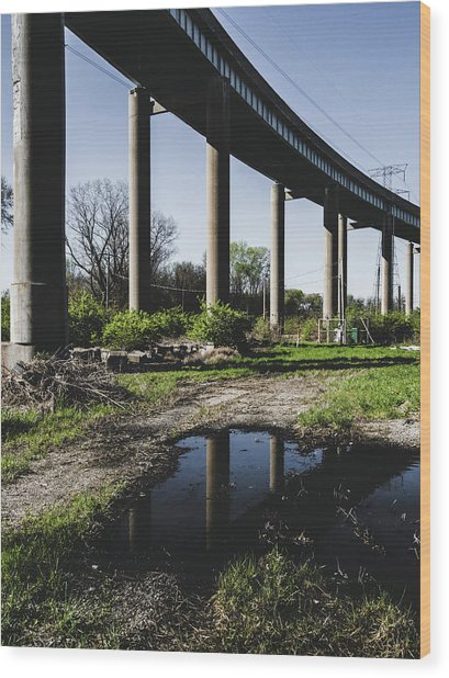 Bridge And Puddle Wood Print by Dylan Murphy