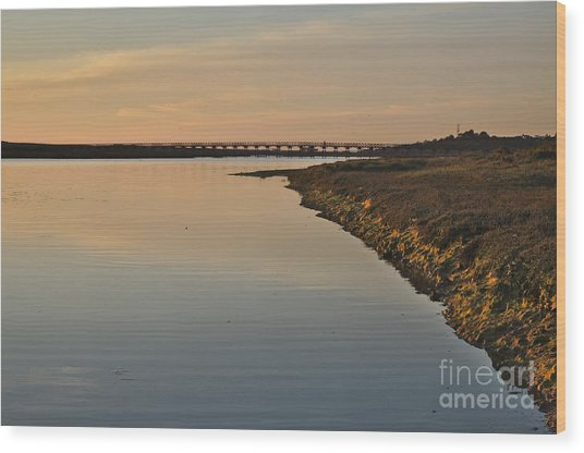 Bridge And Ria At Sunset In Quinta Do Lago Wood Print