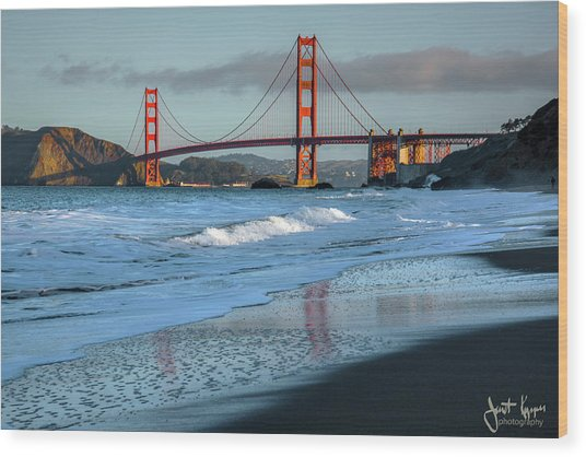 Bridge And Waves Wood Print