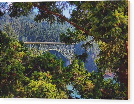 Bridge At Deception Pass Wood Print