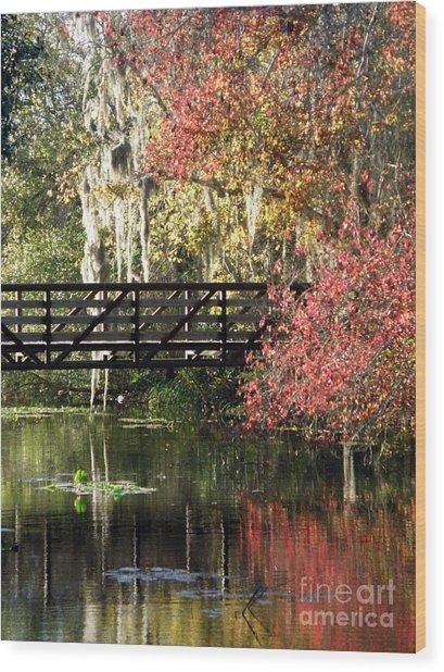 Bridge At Sawgrass Lake Park Wood Print