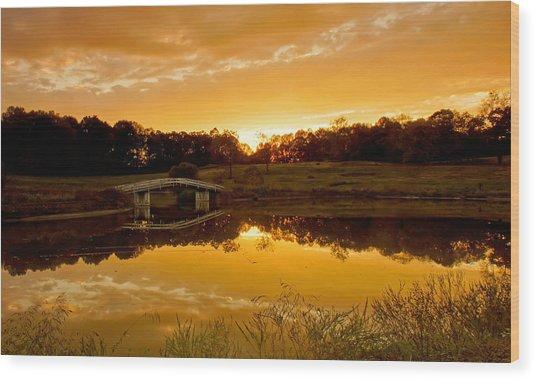 Bridge At Sundown Wood Print by Keith Bridgman