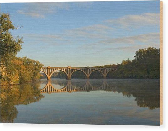 Bridge At Sunrise Wood Print by John Magor