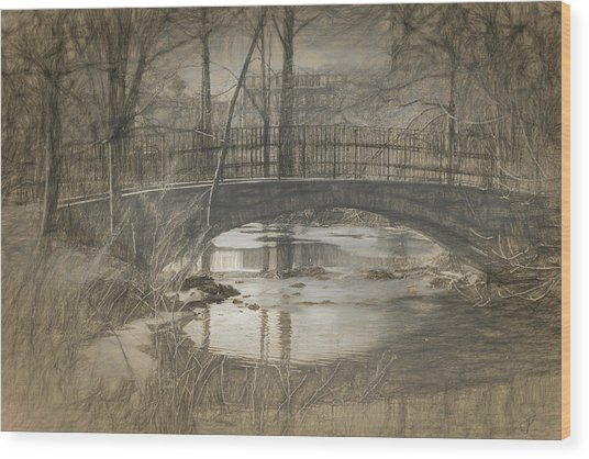 Bridge At The Fens Wood Print