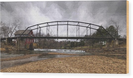 Bridge At The Mill Wood Print