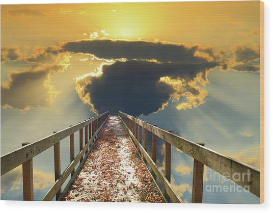 Bridge Into Sunset Wood Print