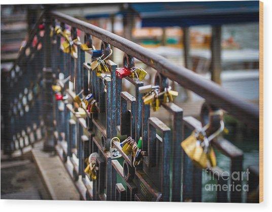Bridge Of Love Venice Wood Print by Ken Andersen
