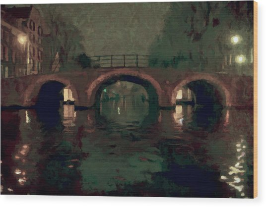 Bridge Over Amsterdam Canals Wood Print