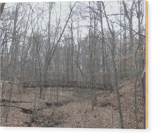 Bridge Over Stream Wood Print by Jennifer  Sweet