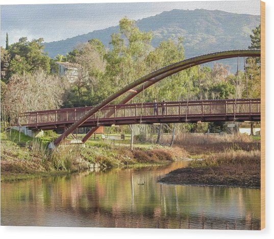 Bridge Over The Creek Wood Print