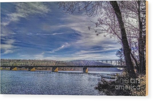 Bridge Over The Delaware River In Winter Wood Print