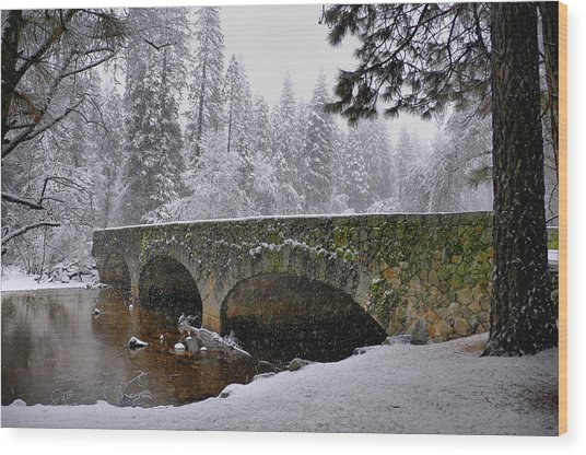 Bridge Over The Merced Wood Print by Frank Remar