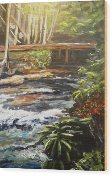Bridge Over The Trout Stream Wood Print