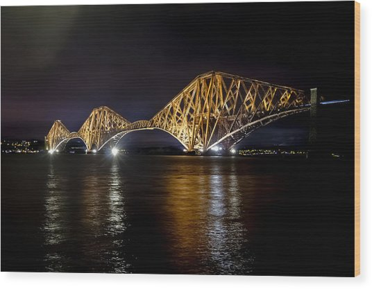 Bridge Over Water Lights. Wood Print