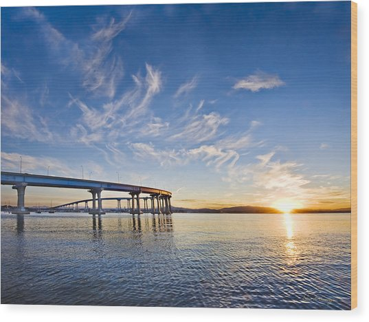 Bridge Sunrise Wood Print