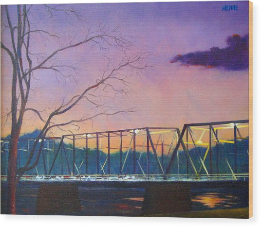 Bridge Sunset Wood Print