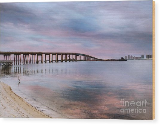 Bridge Under The Sunset Wood Print