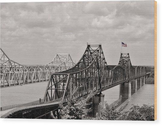 Bridges At Vicksburg Mississippi Wood Print