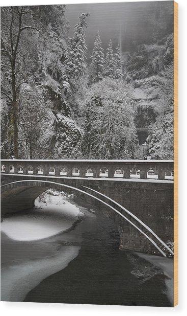 Bridges Of Multnomah Falls Wood Print