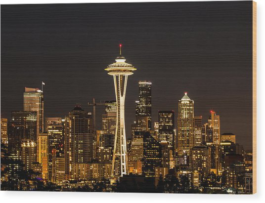 Bright At Night - Space Needle Wood Print
