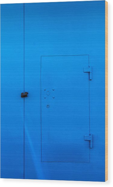 Bright Blue Locked Door And Padlock Wood Print