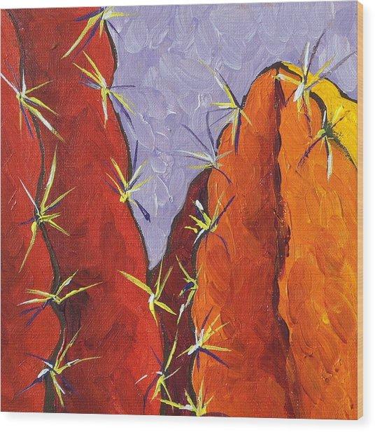 Bright Cactus Wood Print