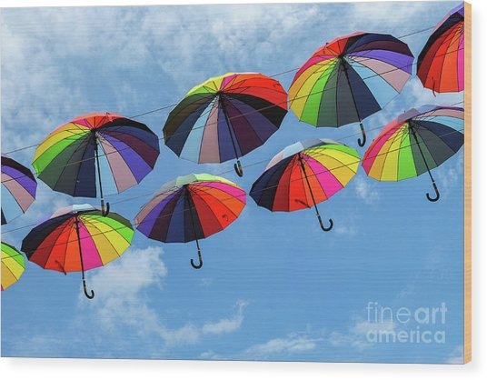 Bright Colorful Umbrellas  Wood Print