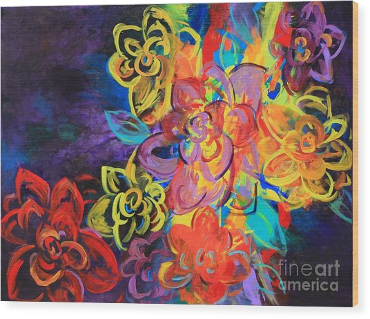 Bright Flowers Wood Print by Sabra Chili