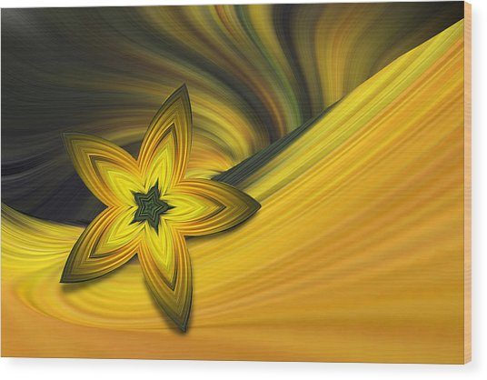 Bright Golden Star Wood Print by Linda Phelps