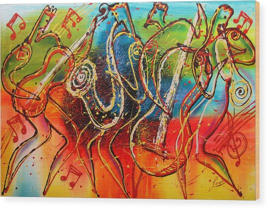 Bright Jazz Wood Print
