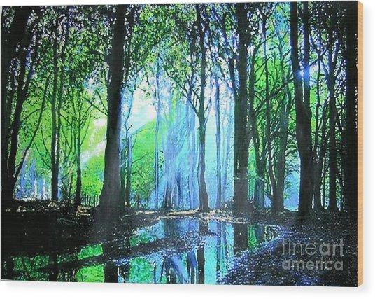 Bright Light In Dark Wood Wood Print