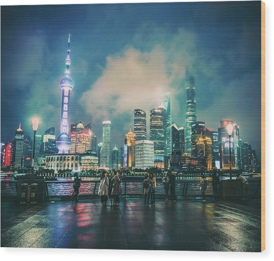 Bright Lights Of Pudong Wood Print