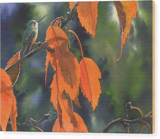 Bright Orange Leaves Wood Print
