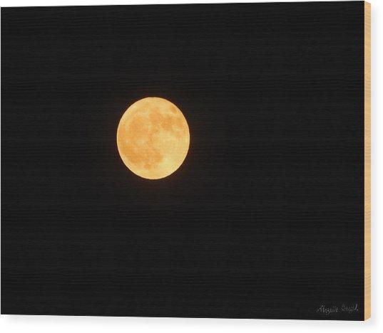 Bright Orange Moon Wood Print
