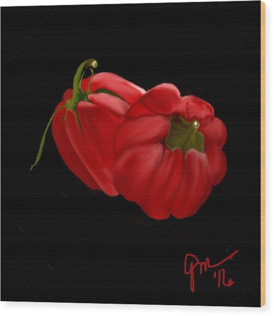 Bright Red Peppers Wood Print