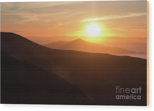 Bright Sun Rising Over The Mountains Wood Print