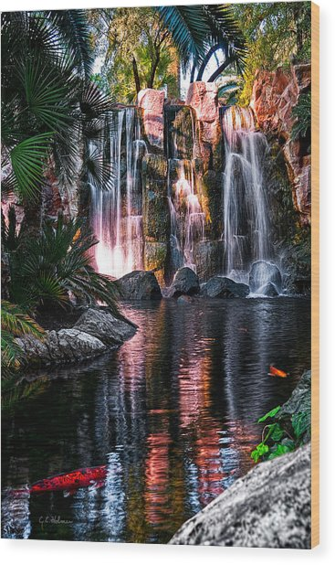 Bright Waterfalls Wood Print