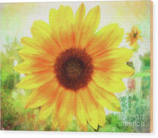 Bright Yellow Sunflower - Painted Summer Sunshine Wood Print