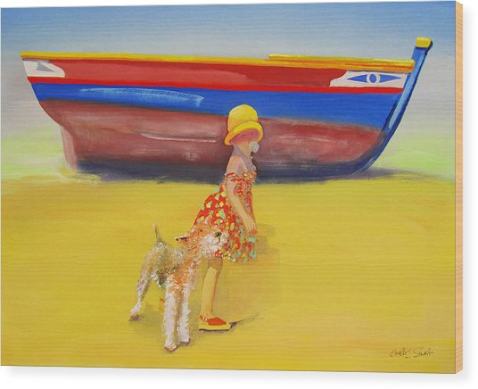 Brightly Painted Wooden Boats With Terrier And Friend Wood Print