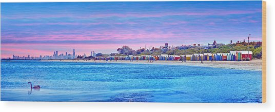 Brighton Beach Sunset Wood Print