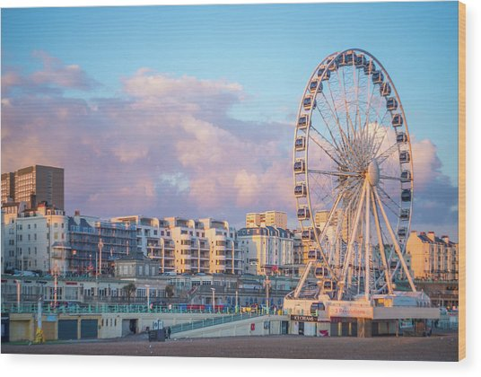 Brighton Ferris Wheel Wood Print