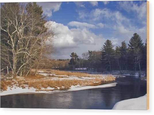 Brilliant Sky Snowy Brook Wood Print by Frank Winters