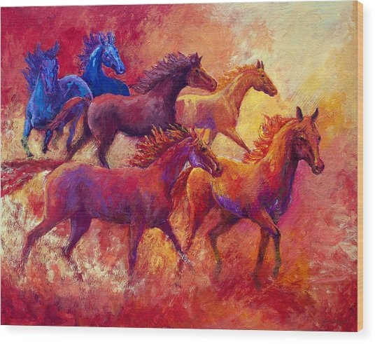 Bring The Mares Home Wood Print