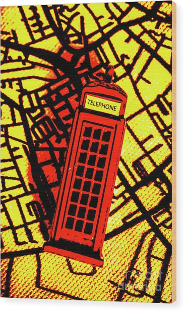 Brit Phone Box Wood Print