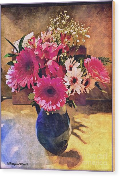 Brithday Wish Bouquet Wood Print